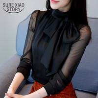 Nueva moda de verano de la túnica de las mujeres de la blusa de la manga larga corbata de lazo de gasa cuello alto formales camisas de las mujeres negro blanco 0599 30