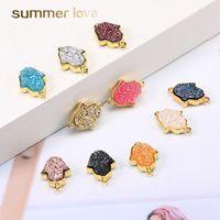 Nova Resina druzy Pedra Fatima Hamsa Mão Pingente de colares Pulseira Geometric Pedra Natural Charme ouro para Mulheres Meninas fazer jóias