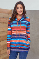 Striped Turtle Neck Womens Hoodies Loose Autumn Spring Hoode...