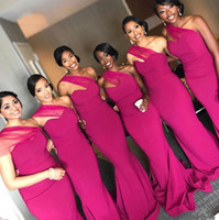 2019 Fuschia Negerian Gilrs Negro Gilrs Sirena Dama de honor Vestidos Un Hombro Perlas Satén Piso Longitud Vestidos de noche Maid of Honors Vestidos