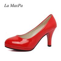 Patentes de cuero de moda mujer fiesta de verano zapatos de novia de la boda bombas de dedo del pie redondo suela roja vestido inferior rojo tacones altos calzado