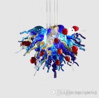 Urbane Decke Hand Geblasene weiße und blaue Kronleuchter Pendelleuchten Sonderanfertigungen Murano Glas Modern Kristall LED Kronleuchter