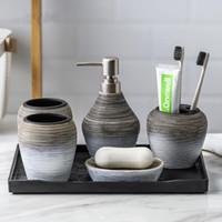 Retro Handmade banheiro ajustados Cerâmica Casa de Banho Acessórios porta-escovas sabonete Líquido Emulsão Garrafa Colutório armazenamento Cup