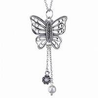 새로운 925 스털링 실버 목걸이 openwork 여성을위한 민물 진주 꽃 목걸이와 나비 결혼 선물 DIY 쥬얼리