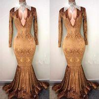 Vintage Designer Gold Mermaid Prom Kleider Tiefer V-Ausschnitt, lange Ärmel bodenlangen Abend Party Kleider Vestido de Novia