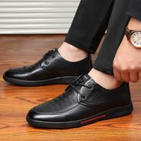Günlük Ayakkabılar 2019 Yeni Başkan Katman Deri Erkek Ayakkabı-Orta yaşlı ve Eski Aşınma dirençli Yuvarlak Kafa Nefes Ayakkabı