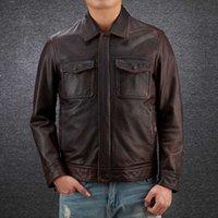 2020 Grande taille Hommes Vintage véritable noir en cuir de vache Veste Homme 100% Peau de vache cuir véritable Motard Manteau Automne Hiver