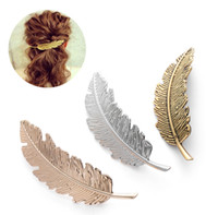 M MISM Vintage Hair Clips For Women Metal Feather Silver Gol...