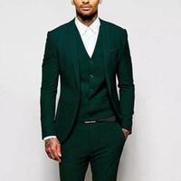 Yeni Slim Fit Yeşil Erkekler Düğün Smokin Groomsmen Aşınma 3 Piece (Ceket + Pantolon + Vest) En İyi Erkek Balo Akşam Giyim 483 Suits