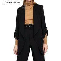 Femmes Cuissures Blazers Chic Candy Couleur Solid Roll Up Blass Mid Long Blazer avec Doublure Femme Collier Châle Slim Fit Contens Casual Jacket Coat