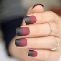24pcs / Set Mate Vino tinto uñas postizas de parches niña coreana mujeres belleza herramienta de manicura del cuadrado del color falso corto Uñas Decoración