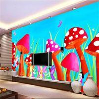 изготовленный на заказ размер 3d фото обои настенная роспись гостиная спальня настенная роспись гриб акварель ангел 3d картина диван телевизор фон обои стикер стены
