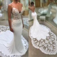 Sexy Mermaid Spaghetti Straps Wedding Dresses 2019 See Throu...