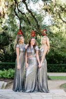 Mantel Pailletten Sliver Brautjungfernkleider Lange verschiedene Arten gleiche Farbe Simple Designs Vestidos de Dama de Honor Plus Size Party Kleider