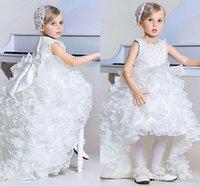 Бальное платье Princess Girl's Pageant платья в линию Высокие низкие ярусы Органза оборманы Детская форма Формальная вечеринка Носит цветок Девушка платья лук Sash