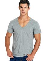 Estiramento Profundo Decote Em V T Shirt Para Os Homens Low Cut Vneck Vee Top Tees Slim Fit Manga Curta Moda Masculina Camiseta Invisível Undershirt C190420