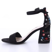 Fashion High heeled embroidered sandals with thick heels New...