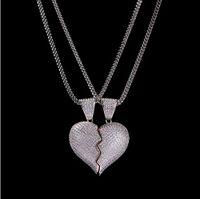 1 Çift Yarım kalp Kolye Kolye CZ Bling Kolye Mikro Açacağı Kübik Zirkonya Simüle Diamonds Çift Sevgililer hediye