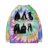 Progettista del Mens magliette OFFLINE casual CERAMICA enlightment Tie Dye Graffiti stampa di marca di modo allentato a maniche lunghe