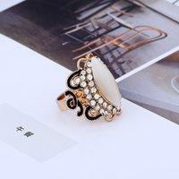 Fashion-Koreański wiatr-czarny olej naftowy Złoty Diamentowy Cat's Eye Otwarcie Regulowany Pierścionek Pierścionek Stopu Biżuteria