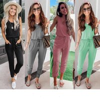 2020 spring and summer suspenders sexy halter pocket female jumpsuit