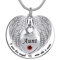 Anjo Wing Memorial Lembrança Ashes Urna Pingente Colar de cristal Birthstone, eu costumava ser o seu ângulo, agora ele é meu -para a tia