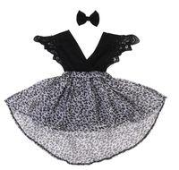 Netter Baby-Strampler Kids Kleider Trendy Leopard gedrucktes Kleid Sommer-Mädchen-Schwestern Kleidung Zwei-teiliges Set Dress + Haarband / Hairpin E21902