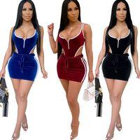 mini elbise 2 iki Piece Kıyafetler romper yaz kısa etek Cutout artı boyutu giyim BODYCON tulum yelek Sexy kolsuz Velvet set Womens