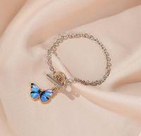 Kadınlar için 2020 Yeni Mavi Kelebek Zincir Bileklik Kızlar Alaşım Kelebek Bileklik Bilezik Moda Takı