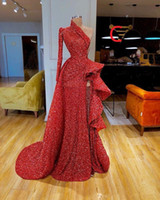 Herrliche lange Hülsen-Rot-Nixe-Abend-Kleider 2019 elegantes reizvolles Abendkleid mit Pailletten formale Abendkleider robe de Soiree Abendkleider