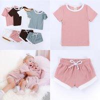 الأطفال ملابس أطفال صيف بلون بأكمام قصيرة قميص السراويل اثنين من قطعة ملابس تناسب بنات set عن الطفل لينة وتنفس CZ623