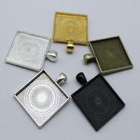 100pcs misura 25mm quadrato in vetro cabochon impostazione base ciondolo per monili che fanno risultati di gioielli d'epoca