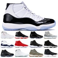 Best Concord 45 11 Basketball Shoes 11s Mens Womens Platinum...