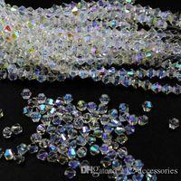 白いabビコーンがファセット5301#クリスタルガラスルーズスペーサービーズDIYジュエリーを作る4 6 mm