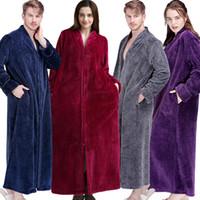Femmes d'hiver Extra Long épais Taille bain chaud Robe plus Zipper luxe Flanelle Peignoir enceinte Peignoir homme molleton Robes