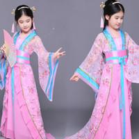 Сцена носить древний китайский костюм традиционные девочки ребенка фольклорный танец детские оперы дети династия Ming Tang Han Hanfu платье