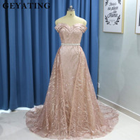 Sparkly Rose Gold Long Sleeves Mermaid Evening Dress with De...