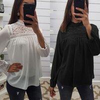 Mulheres oco Out Lace manga comprida solta blusa Tops 2020 Spring Summer Jumper Casual shirt da mulher básica Branca Preto elegante camiseta