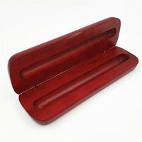 اليدوية الأحمر هدية خشبية مربع القلم حبر بوينت الأسطوانة مربع الجملة قلم رصاص القضية