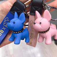 Kısa Bulldog Köpek Anahtarlık Sahte Deri Doll Anahtar Yüzükler kolye Anahtarlık Charm Bags Dekor oto anahtarlığı Punk Chaveiros Asma