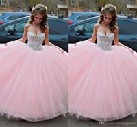 Бесплатная доставка бальное платье розовые Quinceanera платья блеск кристаллы сладкие 16 платьев Милая на день рождения платья выпускного вечера