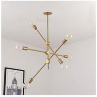Ottone spazzolato metallo Sputnik Branch lampadario Soffitto moderna illumina la lampada della stanza Nordic postmoderna Stile Led Chandelier