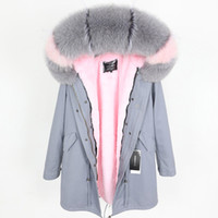 Lavish Trim Forro Mulheres Fox Cinza Casacos Hoody Rosa Marca Rabbit MaomaOkong Long Parkas Designer de Neve Emjfs