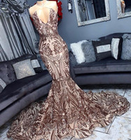 Sexy Halter Backless Rose Gold Sequin Mermaid Prom Dresses 2019 Sparkly Champagne Long African Formal Dress Evening Party Gowns