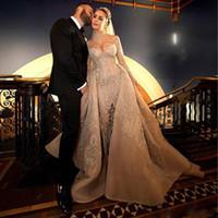Glamoroso champagne sirena árabe dubai vestidos de novia con tren desmontable cuello alto manga larga cristal capilla de cristal vestidos de novia