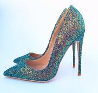 VENTE paillettes talon design fond rouge pailletée de véritables chaussures de mariée mariage cuir femmes de luxe talons Les talons hauts, plus la taille 33 à 46