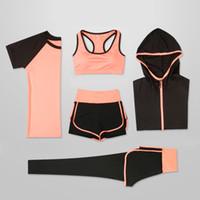 OLOEY Kadınlar 5 Adet Yoga Seti T-Shirt Çalıştırmak için Spor Sütyen Spor Salonu Giyim Kadınlar Egzersiz Seti Spor Suit Y200328 Wear
