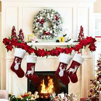 Noel Dekorasyon Çorap 2 Stilleri Elk Işlemeli Çocuklar Şeker Cepler Parti Stocking Fit Kapalı Oda Dekorasyon 10 5gm E1