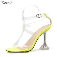 Kcenid Summe новый ПВХ сандалии женщин сексуальный четкие пятки прозрачной лодыжки ремень высокие каблуки партии сандалии женщин обувь плюс размер 35-42