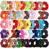 50 teile / los Premium Velvet Hair Scrunchies Haarbänder rockige Haare Krawatten Seile Pferdeschwanzhalter für Frauen oder Mädchen Nettes Zubehör